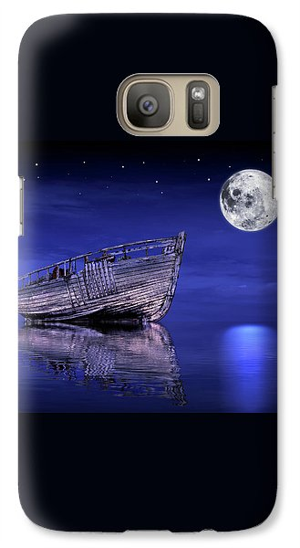 Galaxy Case featuring the photograph Adrift In The Moonlight - Old Fishing Boat by Gill Billington