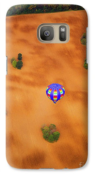 Galaxy Case featuring the photograph  Aerial Of Hot Air Balloon Above Tilled Field Fall by Tom Jelen