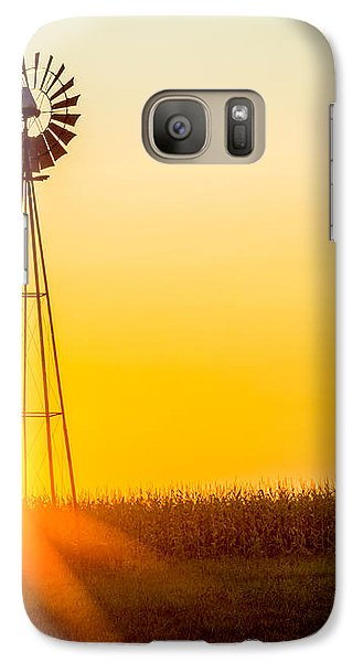 Galaxy Case featuring the photograph Aermotor Sunset by Chris Bordeleau