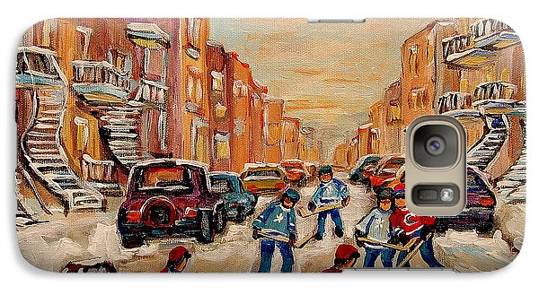 Galaxy Case featuring the painting After School Hockey Game by Carole Spandau