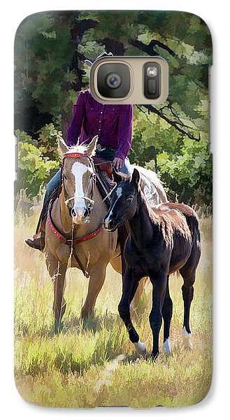 Afternoon Ride In The Sun - Cowgirl Riding Palomino Horse With Foal Galaxy S7 Case