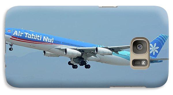 Galaxy Case featuring the photograph Air Tahiti Nui Airbus A340-313x F-osea Los Angeles International Airport May 3 2016 by Brian Lockett