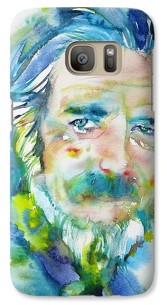 Galaxy Case featuring the painting Alan Watts - Watercolor Portrait.4 by Fabrizio Cassetta