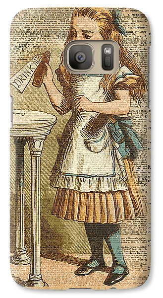 Alice In Wonderland Drink Me Vintage Dictionary Art Illustration Galaxy S7 Case by Jacob Kuch
