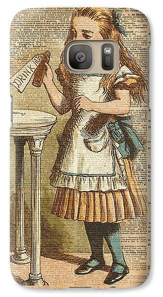 Alice In Wonderland Drink Me Vintage Dictionary Art Illustration Galaxy S7 Case