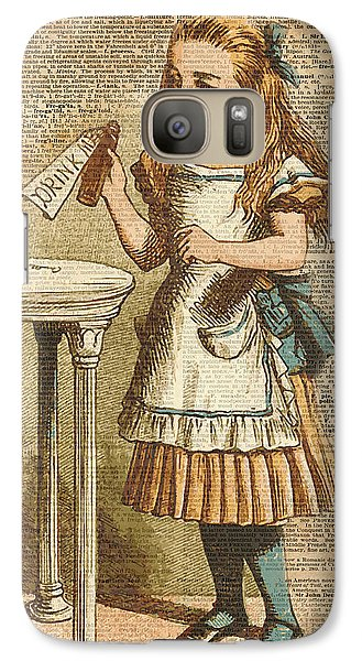 Animals Galaxy S7 Case - Alice In Wonderland Drink Me Vintage Dictionary Art Illustration by Anna W