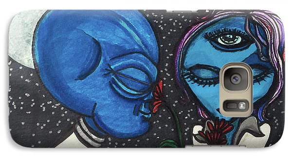 Galaxy Case featuring the drawing Aliens Love Flowers by Similar Alien