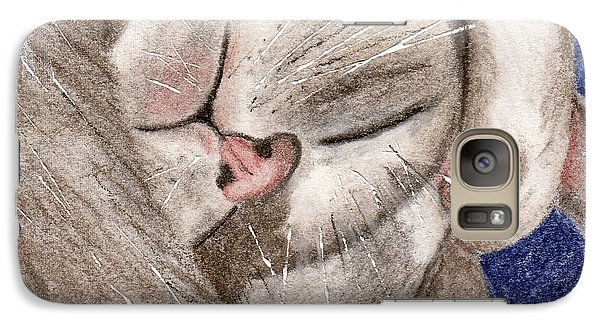Galaxy Case featuring the drawing All Curled Up by Terry Taylor