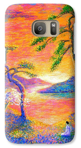 Buddha Meditation, All Things Bright And Beautiful Galaxy Case by Jane Small