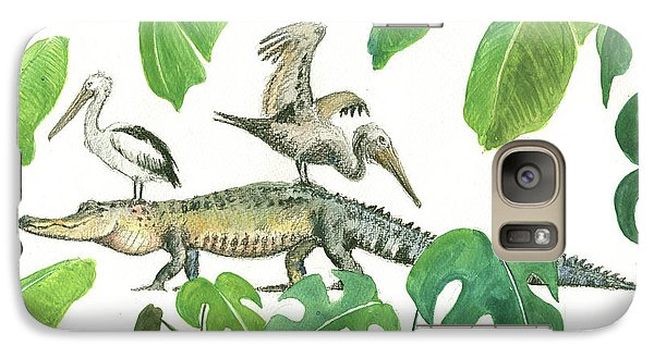 Alligator And Pelicans Galaxy Case by Juan Bosco