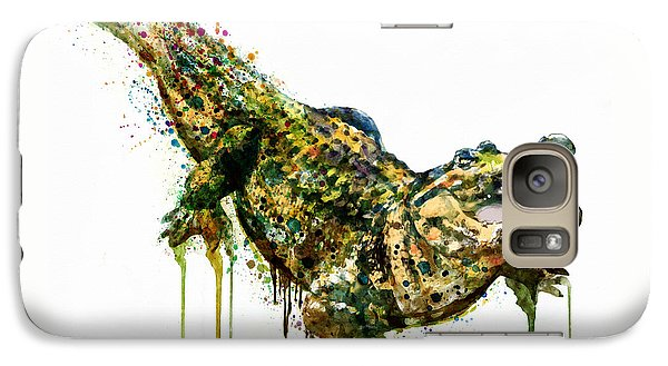 Alligator Watercolor Painting Galaxy S7 Case by Marian Voicu