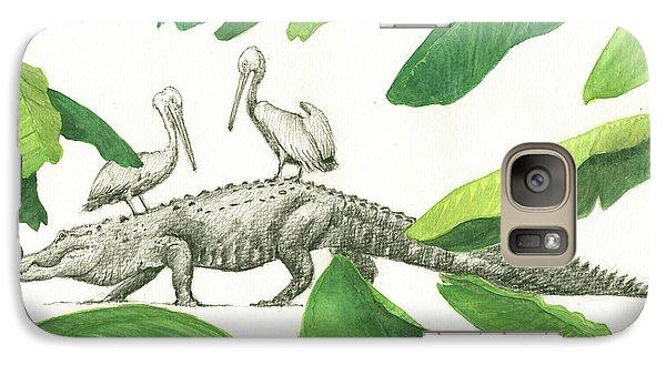 Alligator With Pelicans Galaxy S7 Case