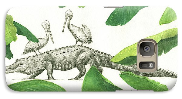 Alligator With Pelicans Galaxy Case by Juan Bosco