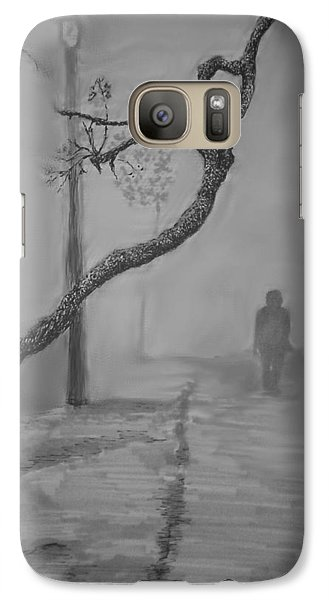 Galaxy Case featuring the mixed media Alone by Rachel Hames