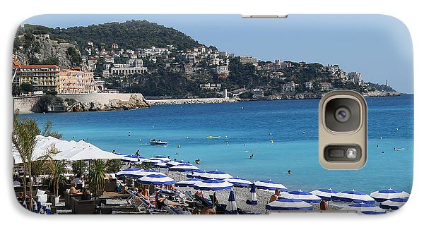 Galaxy Case featuring the painting Along The Beach In Nice Looking Over Toward Monaco by Rod Jellison