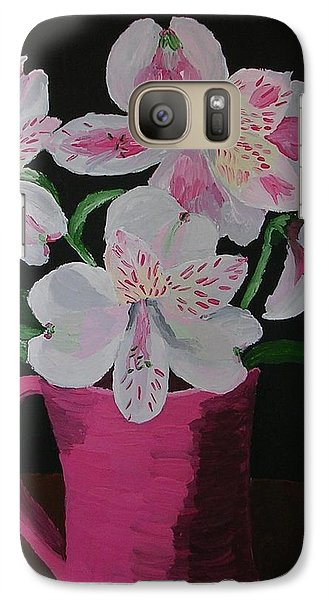 Galaxy Case featuring the painting Alstroemeria In Mug by Joshua Redman
