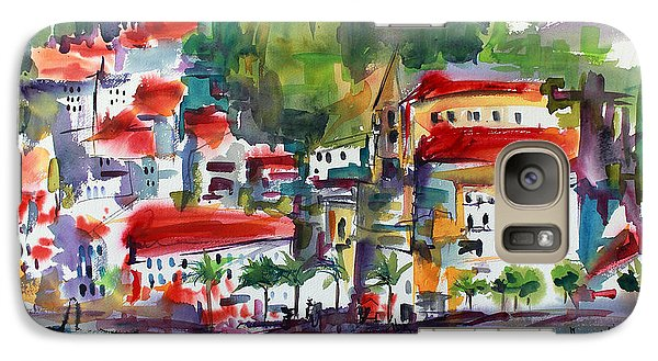 Galaxy Case featuring the painting Amalfi Coast Italy Expressive Watercolor by Ginette Callaway