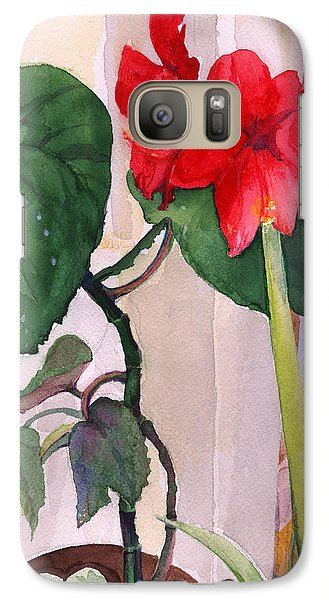 Galaxy Case featuring the painting Amaryllis And Begonia by Nancy Watson