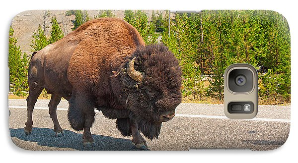 Galaxy Case featuring the photograph American Bison Sharing The Road In Yellowstone by John M Bailey