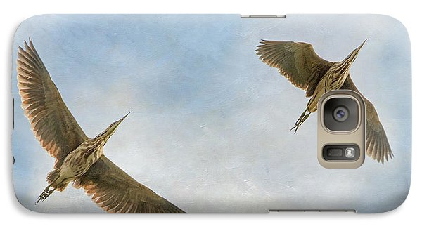 Galaxy Case featuring the photograph American Bitterns In Flight by Angie Vogel