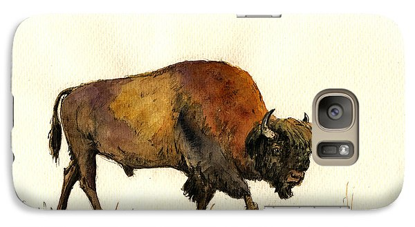 Buffalo Galaxy S7 Case - American Buffalo Watercolor by Juan  Bosco
