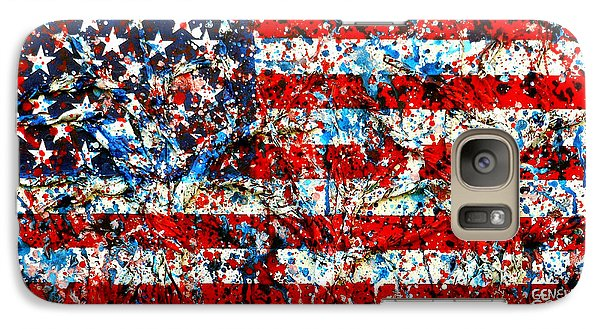 Galaxy Case featuring the painting American Flag Abstract With Trees by Genevieve Esson