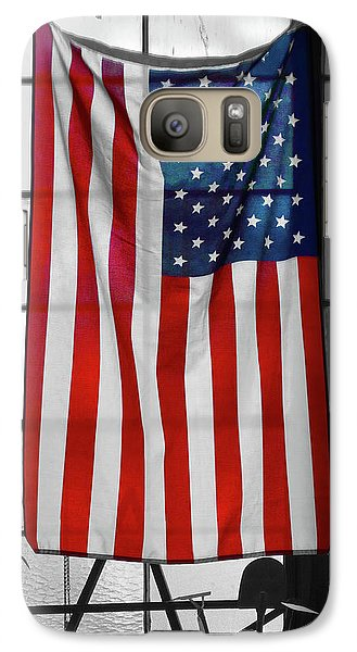 Galaxy Case featuring the photograph American Flag In The Window by Mike McGlothlen