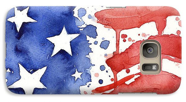 Great White Shark Galaxy S7 Case - American Flag Watercolor Painting by Olga Shvartsur