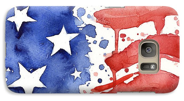 American Flag Watercolor Painting Galaxy S7 Case