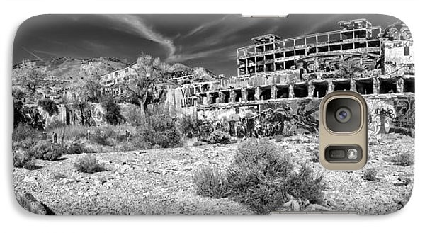 Galaxy Case featuring the photograph American Flat Mill Virginia City Nevada Panoramic Monochrome by Scott McGuire