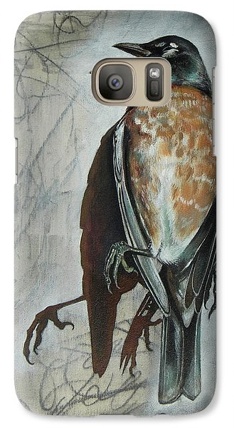 Galaxy Case featuring the mixed media American Robin by Sheri Howe