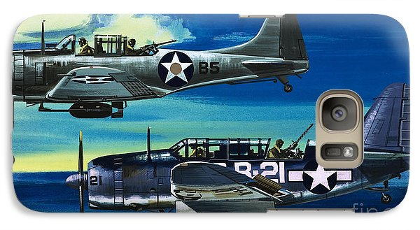 American Ww2 Planes Douglas Sbd1 Dauntless And Curtiss Sb2c1 Helldiver Galaxy S7 Case by Wilf Hardy