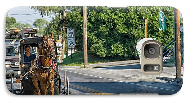 Galaxy Case featuring the photograph Amish Girl On The Road by Patricia Hofmeester