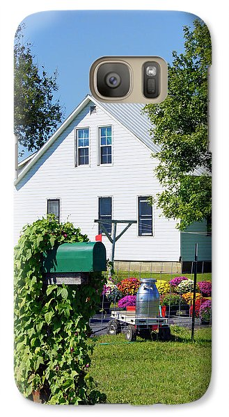 Galaxy Case featuring the photograph Amish House With Mums by Cricket Hackmann