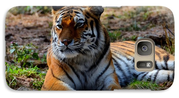 Galaxy Case featuring the mixed media Amur Tiger 8 by Angelina Vick