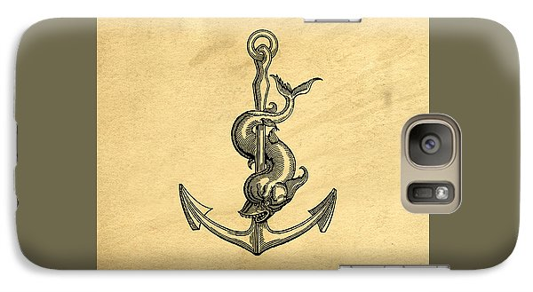 Galaxy Case featuring the drawing Anchor Vintage by Edward Fielding