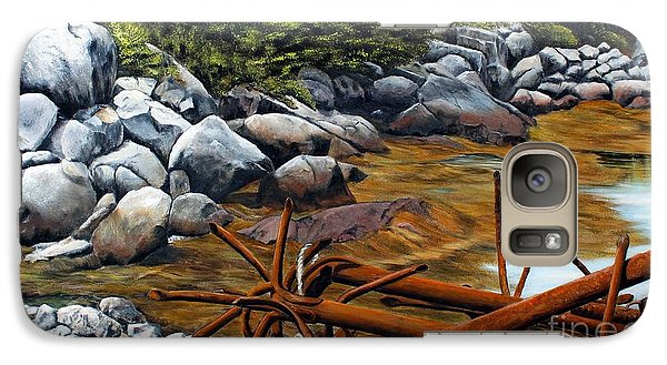 Galaxy Case featuring the painting Anchors Ashore, Peggy's Cove Nova Scotia by Anna-maria Dickinson