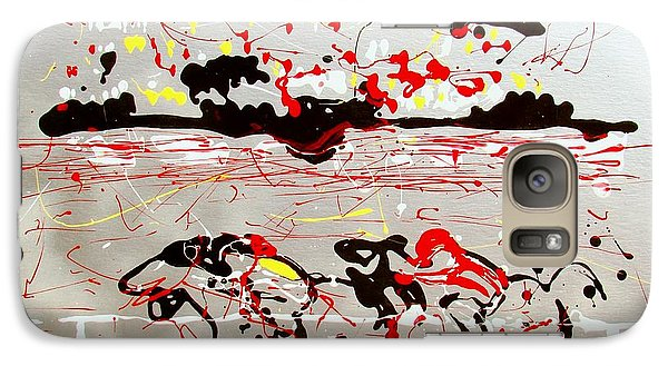 Galaxy Case featuring the mixed media And Down The Stretch They Come by J R Seymour