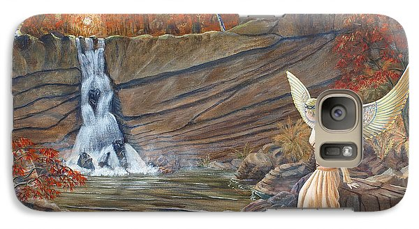 Galaxy Case featuring the painting Angel At The Waterfall by Anthony Lyon