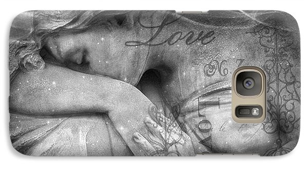 Galaxy Case featuring the photograph Angel In Mourning - Angel Crying Sad Cemetery Mourner At Grave - Angel Love Script Valentine Print by Kathy Fornal