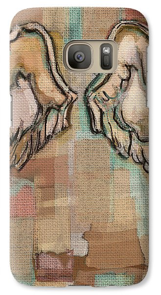 Galaxy Case featuring the painting Angel Wings by Carrie Joy Byrnes