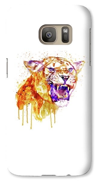 Galaxy Case featuring the mixed media Angry Lioness by Marian Voicu