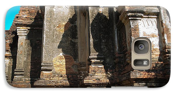 Galaxy Case featuring the photograph Angular Corner Of Temple In Burma With Sunny Blue Sky by Jason Rosette