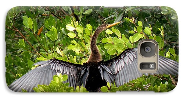 Galaxy Case featuring the photograph Anhinga With Silver Wings by Rosalie Scanlon