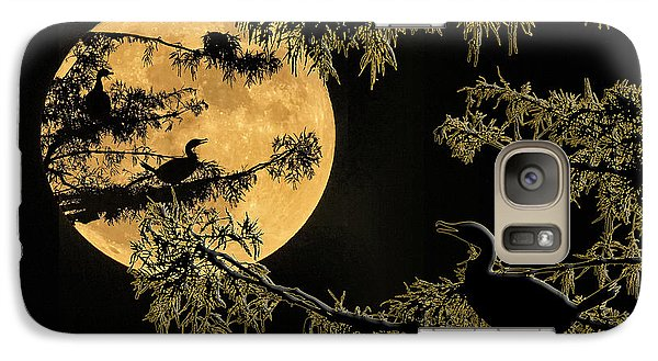 Galaxy Case featuring the photograph Anhingas In Full Moon by Bonnie Barry