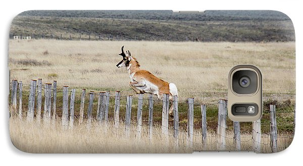 Galaxy Case featuring the photograph Antelope Jumping Fence 1 by Rebecca Margraf