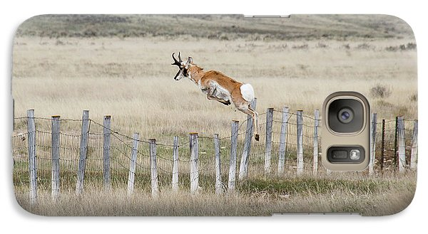 Galaxy Case featuring the photograph Antelope Jumping Fence 2 by Rebecca Margraf