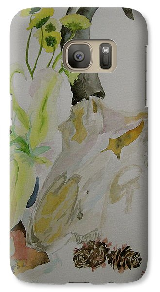 Galaxy Case featuring the painting Antelope Skull Pinecones And Lily by Beverley Harper Tinsley