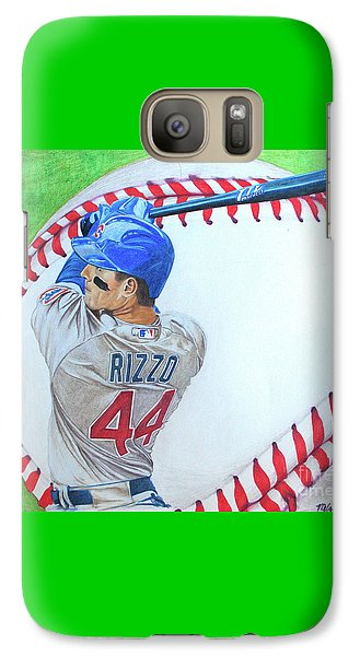 Galaxy Case featuring the drawing Anthony Rizzo 2016 by Melissa Goodrich