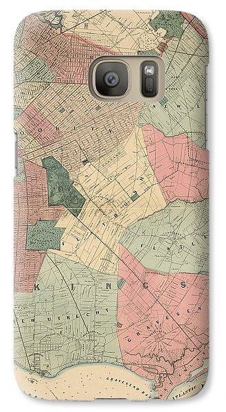 Galaxy Case featuring the drawing Antique Map Of Brooklyn - New York City - By M. Dripps - 1868 by Blue Monocle